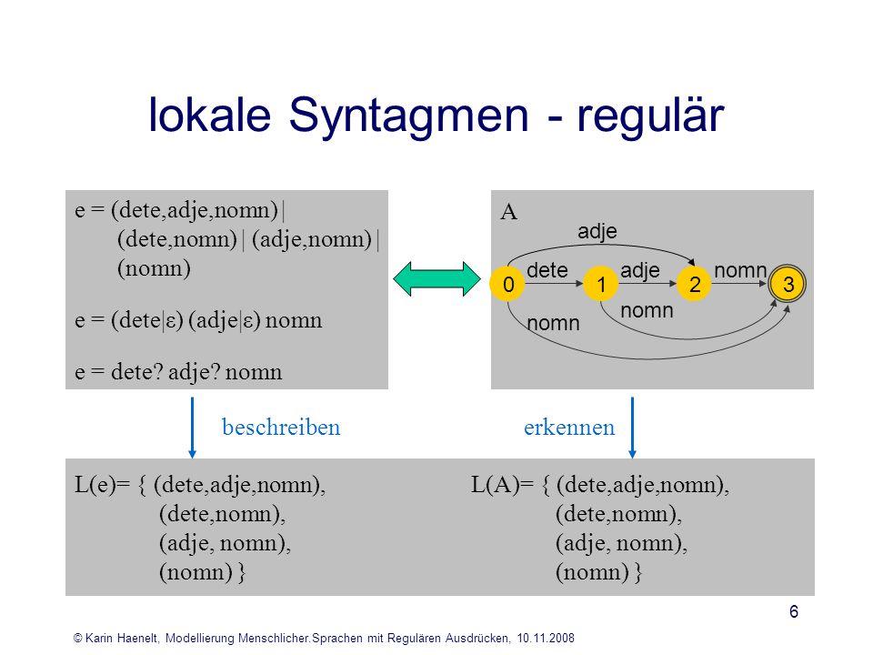 © Karin Haenelt, Modellierung Menschlicher.Sprachen mit Regulären Ausdrücken, 10.11.2008 6 lokale Syntagmen - regulär L(e)= { (dete,adje,nomn), (dete,