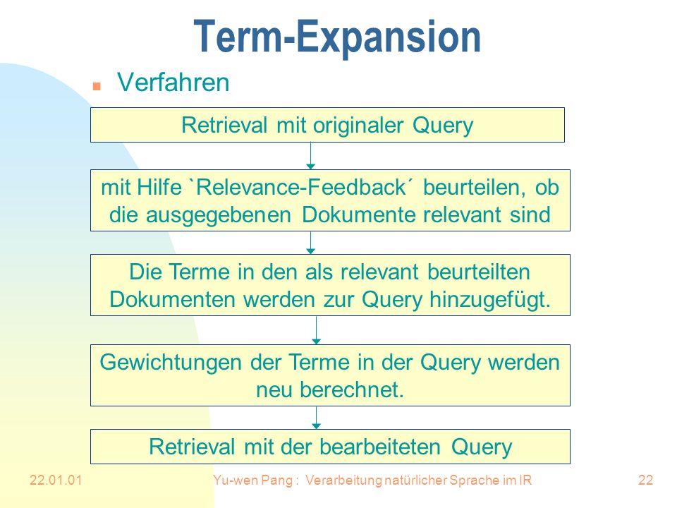 22.01.01Yu-wen Pang : Verarbeitung natürlicher Sprache im IR22 Term-Expansion n Verfahren Retrieval mit originaler Query mit Hilfe `Relevance-Feedback