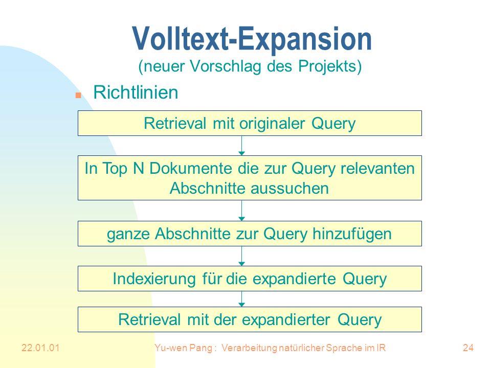 22.01.01Yu-wen Pang : Verarbeitung natürlicher Sprache im IR24 Volltext-Expansion (neuer Vorschlag des Projekts) n Richtlinien In Top N Dokumente die