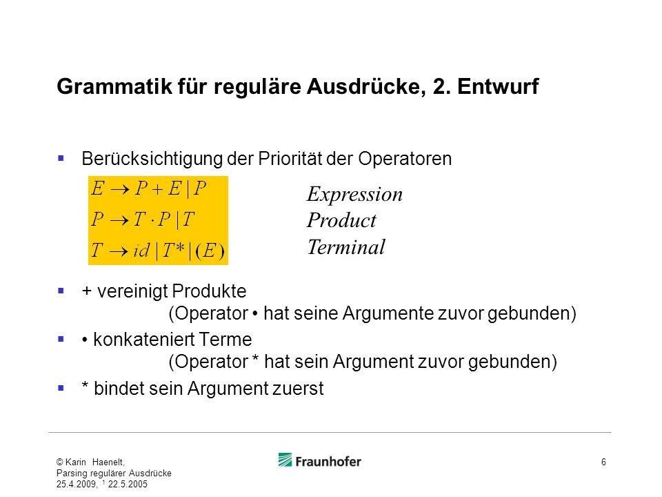 Grammatik für reguläre Ausdrücke, 2. Entwurf Berücksichtigung der Priorität der Operatoren + vereinigt Produkte (Operator hat seine Argumente zuvor ge