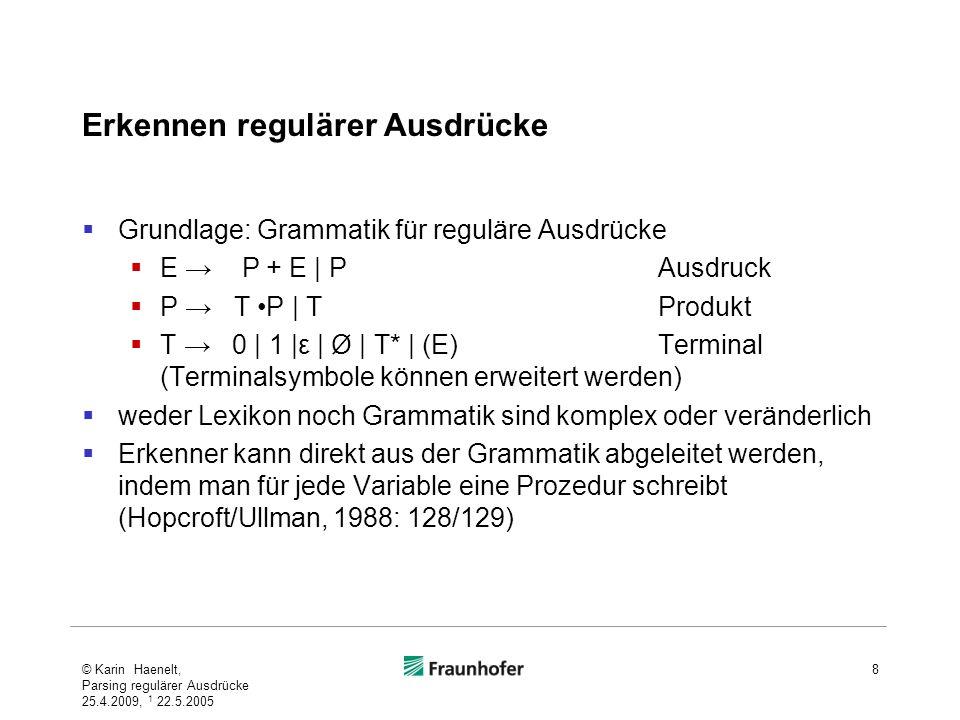 Erkennen regulärer Ausdrücke Grundlage: Grammatik für reguläre Ausdrücke E P + E | PAusdruck P T P | TProdukt T 0 | 1 |ε | Ø | T* | (E)Terminal (Termi