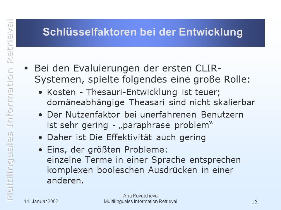 14. Januar 2002 Ana Kovatcheva Multilinguales Information Retrieval 12 Schlüsselfaktoren bei der Entwicklung Bei den Evaluierungen der ersten CLIR- Sy