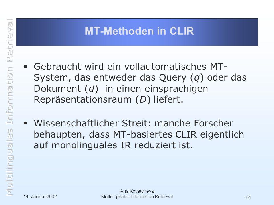 14. Januar 2002 Ana Kovatcheva Multilinguales Information Retrieval 14 MT-Methoden in CLIR Gebraucht wird ein vollautomatisches MT- System, das entwed
