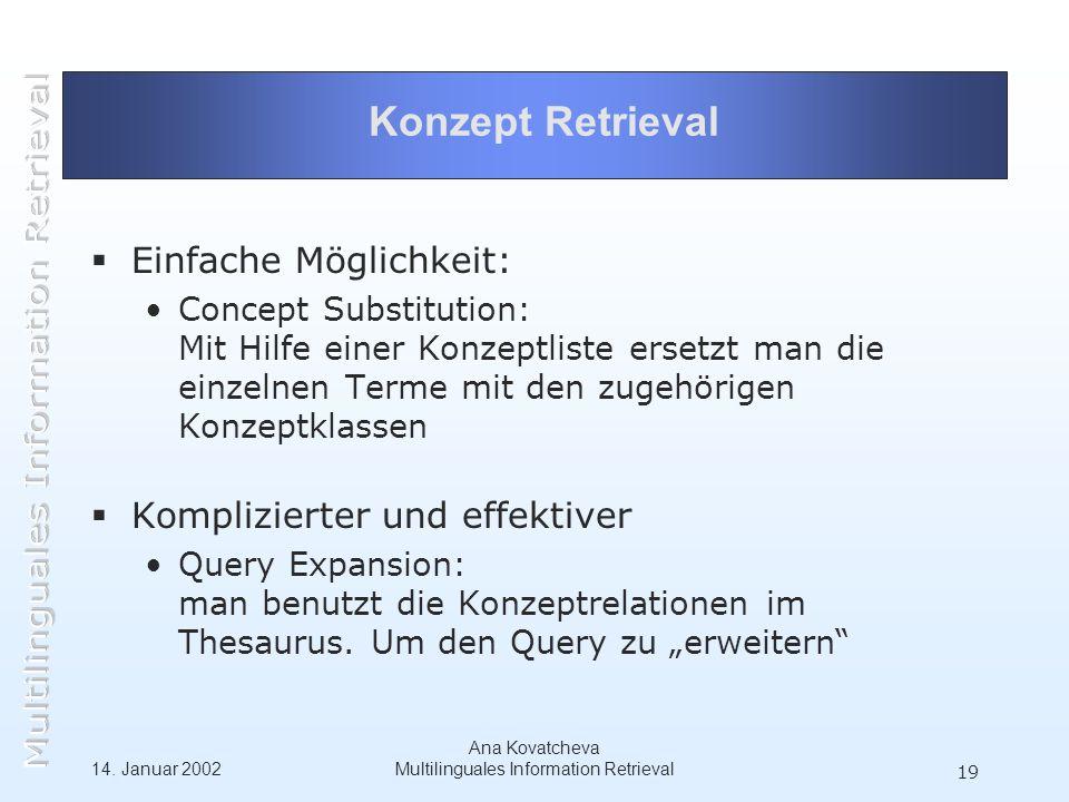14. Januar 2002 Ana Kovatcheva Multilinguales Information Retrieval 19 Konzept Retrieval Einfache Möglichkeit: Concept Substitution: Mit Hilfe einer K