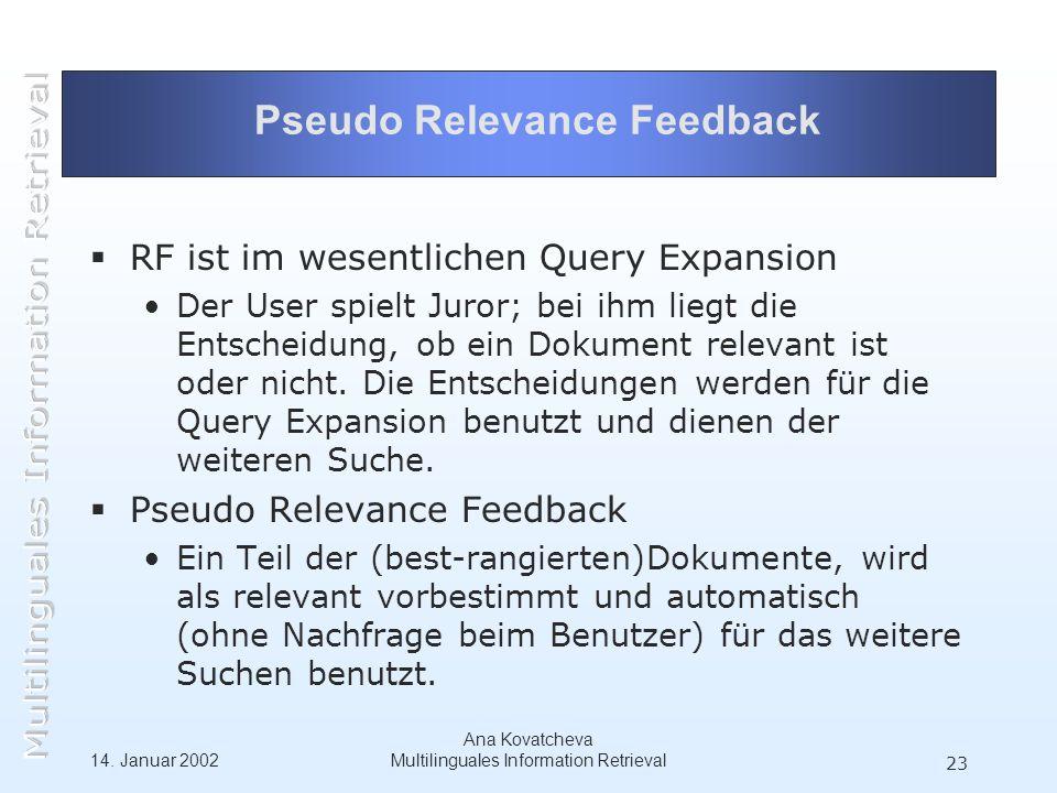 14. Januar 2002 Ana Kovatcheva Multilinguales Information Retrieval 23 Pseudo Relevance Feedback RF ist im wesentlichen Query Expansion Der User spiel