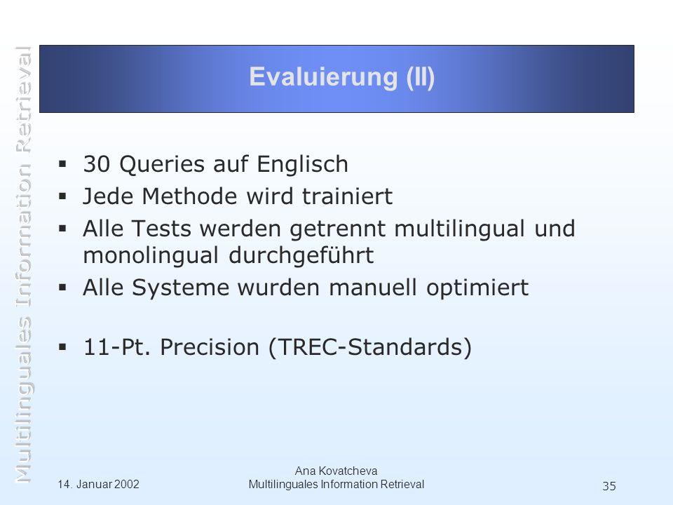 14. Januar 2002 Ana Kovatcheva Multilinguales Information Retrieval 35 Evaluierung (II) 30 Queries auf Englisch Jede Methode wird trainiert Alle Tests