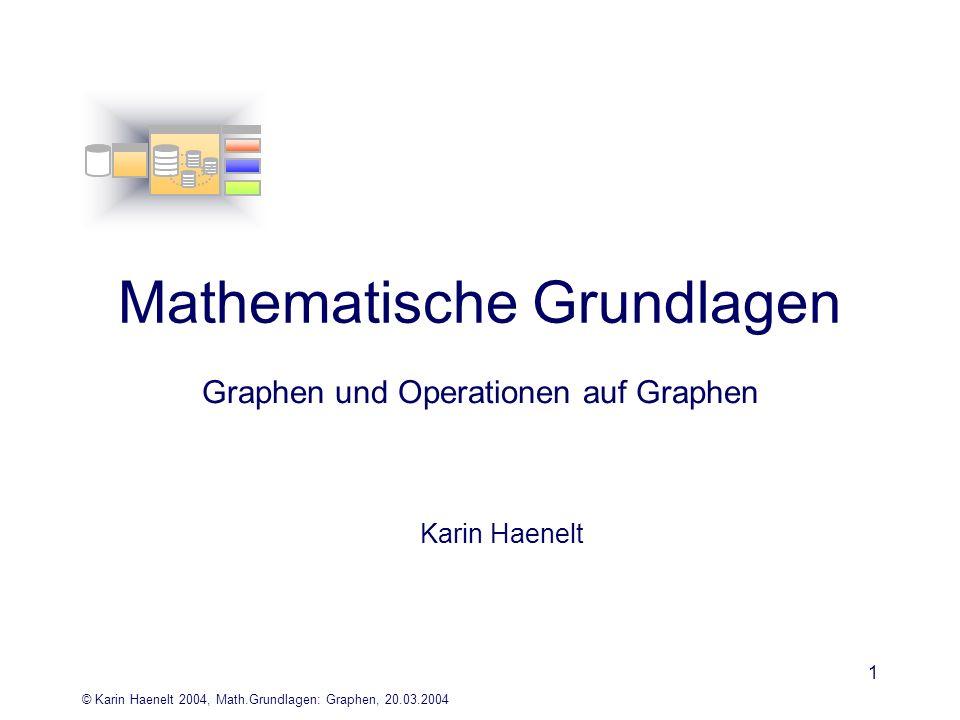 © Karin Haenelt 2004, Math.Grundlagen: Graphen, 20.03.2004 1 Mathematische Grundlagen Graphen und Operationen auf Graphen Karin Haenelt