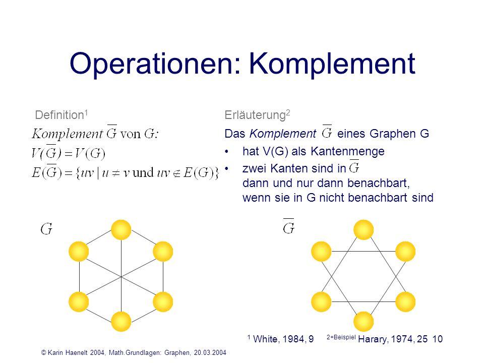 © Karin Haenelt 2004, Math.Grundlagen: Graphen, 20.03.2004 10 Operationen: Komplement 2+Beispiel Harary, 1974, 25 Das Komplement eines Graphen G hat V