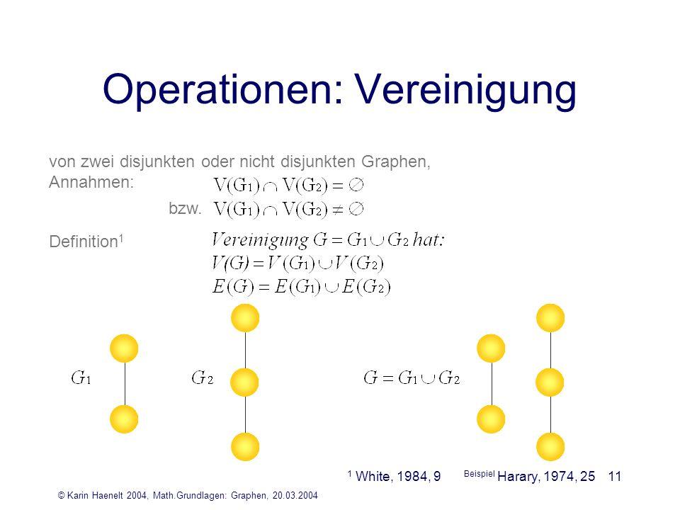 © Karin Haenelt 2004, Math.Grundlagen: Graphen, 20.03.2004 11 Operationen: Vereinigung von zwei disjunkten oder nicht disjunkten Graphen, Annahmen: De