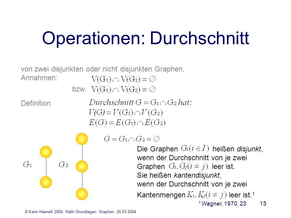 © Karin Haenelt 2004, Math.Grundlagen: Graphen, 20.03.2004 13 Operationen: Durchschnitt von zwei disjunkten oder nicht disjunkten Graphen, Annahmen: D