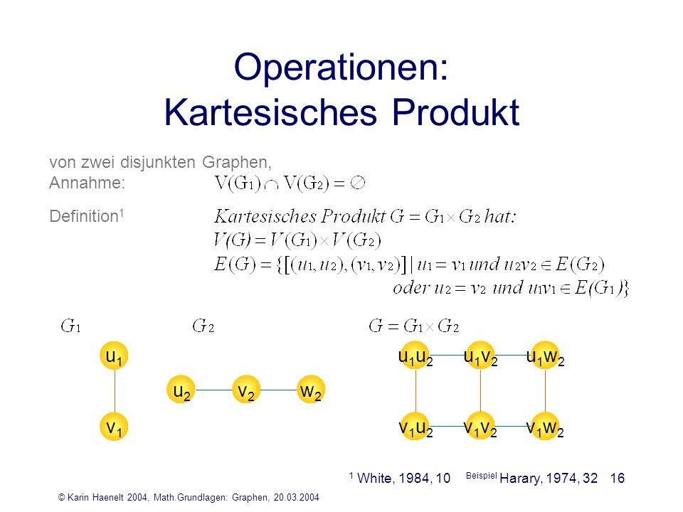 © Karin Haenelt 2004, Math.Grundlagen: Graphen, 20.03.2004 16 Operationen: Kartesisches Produkt von zwei disjunkten Graphen, Annahme: Definition 1 u1u
