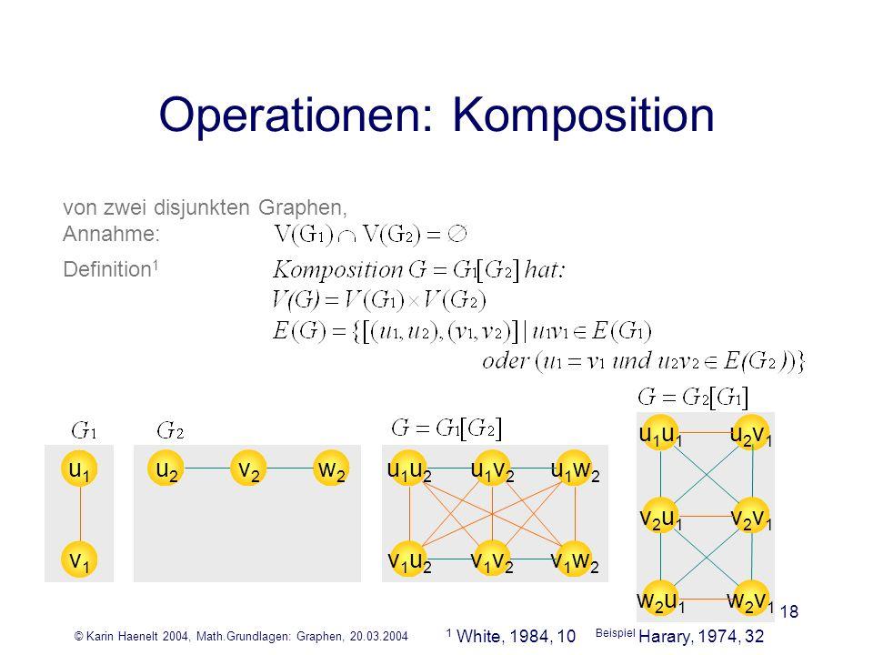 © Karin Haenelt 2004, Math.Grundlagen: Graphen, 20.03.2004 18 Operationen: Komposition von zwei disjunkten Graphen, Annahme: Definition 1 u1u1 v1v1 w2