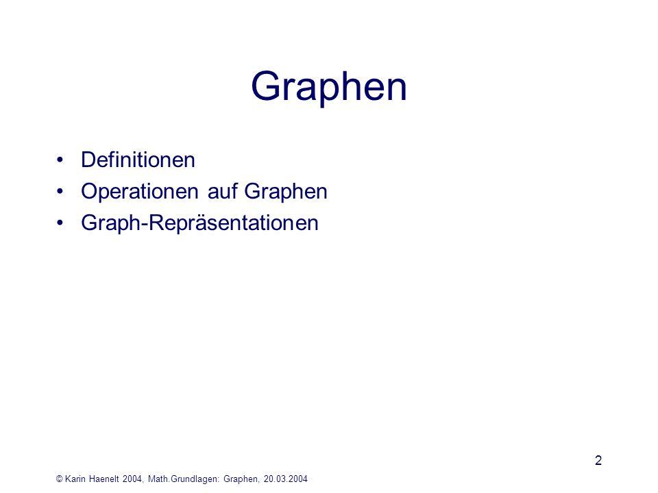 © Karin Haenelt 2004, Math.Grundlagen: Graphen, 20.03.2004 2 Graphen Definitionen Operationen auf Graphen Graph-Repräsentationen