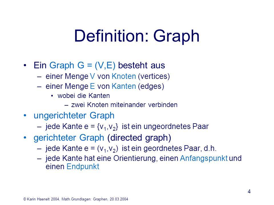 © Karin Haenelt 2004, Math.Grundlagen: Graphen, 20.03.2004 4 Definition: Graph Ein Graph G = (V,E) besteht aus –einer Menge V von Knoten (vertices) –e