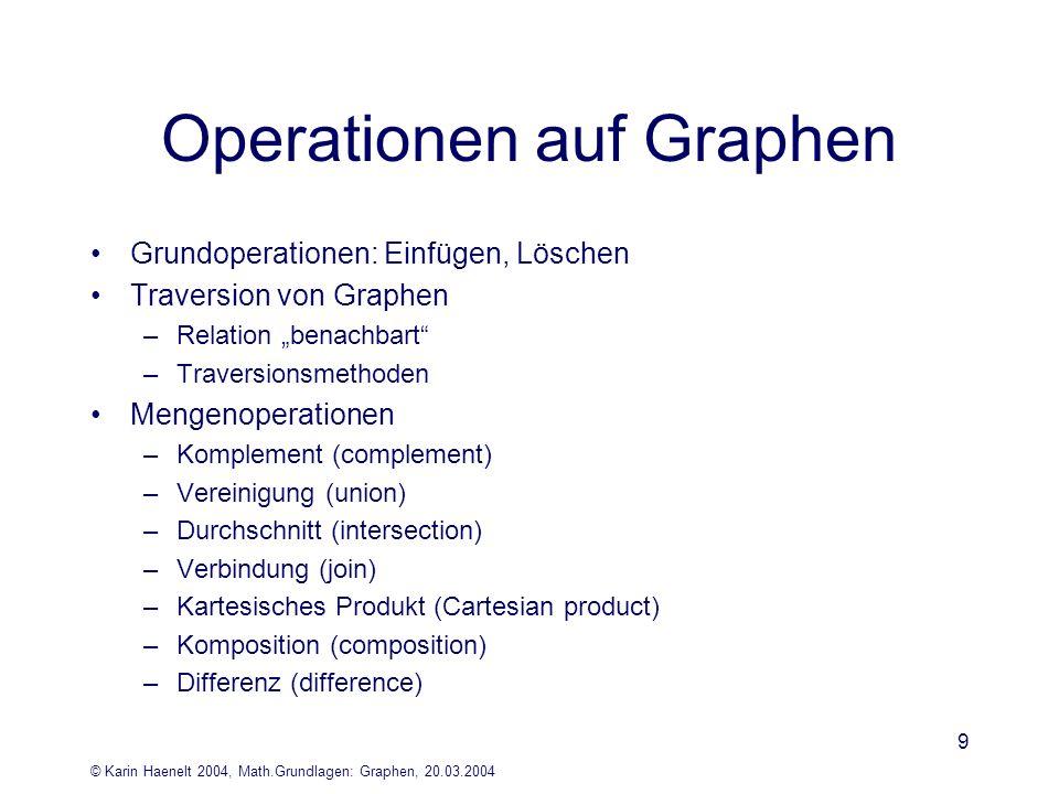 © Karin Haenelt 2004, Math.Grundlagen: Graphen, 20.03.2004 9 Operationen auf Graphen Grundoperationen: Einfügen, Löschen Traversion von Graphen –Relat
