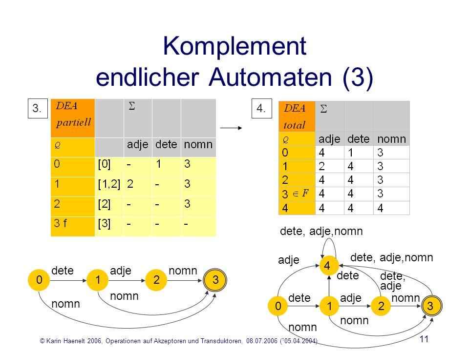 © Karin Haenelt 2006, Operationen auf Akzeptoren und Transduktoren, 08.07.2006 ( 1 05.04.2004) 11 3.