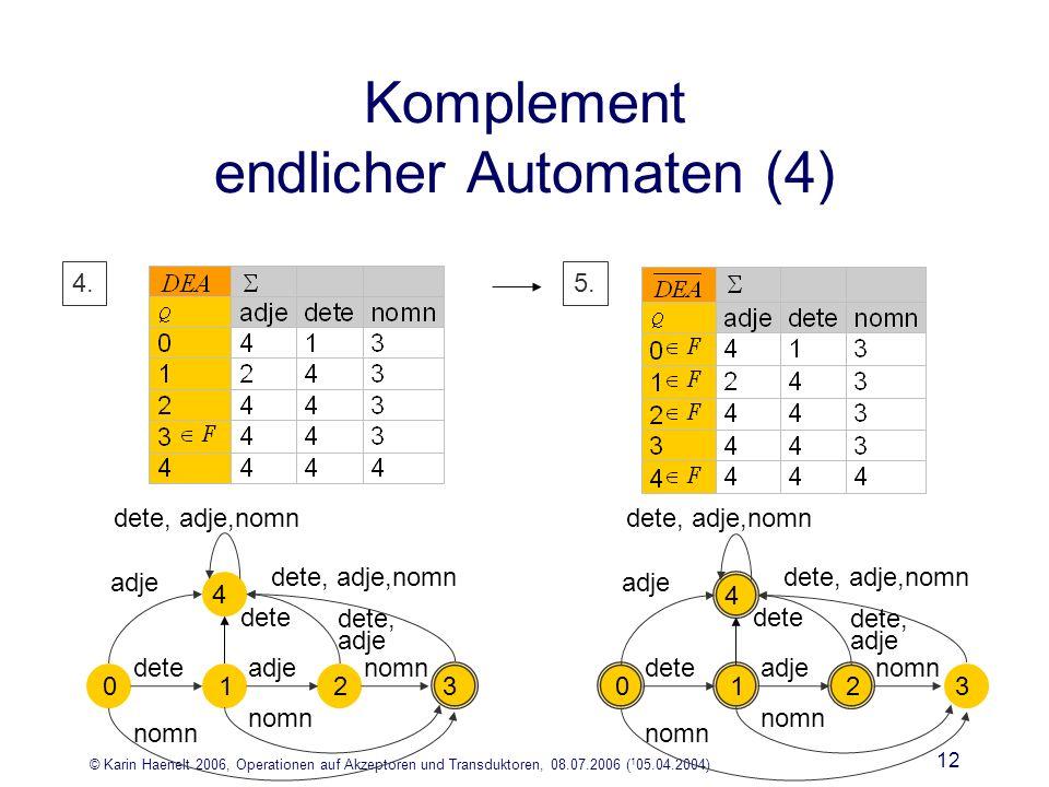 © Karin Haenelt 2006, Operationen auf Akzeptoren und Transduktoren, 08.07.2006 ( 1 05.04.2004) 12 4.