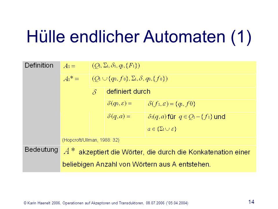 © Karin Haenelt 2006, Operationen auf Akzeptoren und Transduktoren, 08.07.2006 ( 1 05.04.2004) 14 Hülle endlicher Automaten (1)