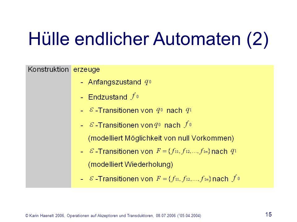 © Karin Haenelt 2006, Operationen auf Akzeptoren und Transduktoren, 08.07.2006 ( 1 05.04.2004) 15 Hülle endlicher Automaten (2)