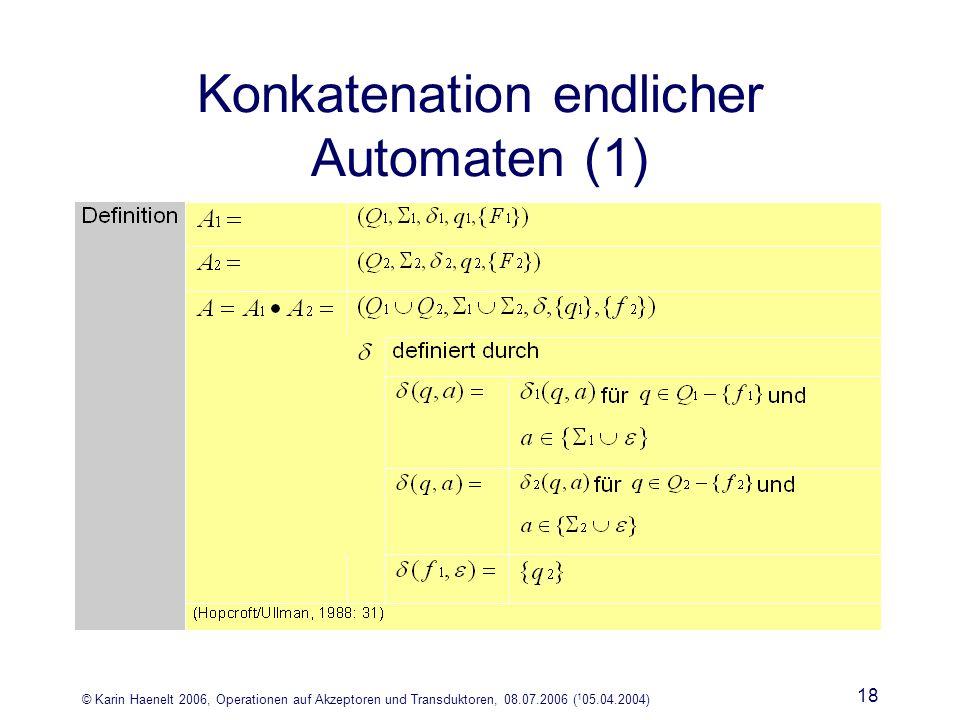 © Karin Haenelt 2006, Operationen auf Akzeptoren und Transduktoren, 08.07.2006 ( 1 05.04.2004) 18 Konkatenation endlicher Automaten (1)