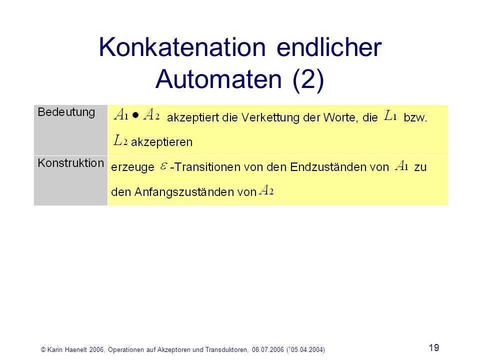© Karin Haenelt 2006, Operationen auf Akzeptoren und Transduktoren, 08.07.2006 ( 1 05.04.2004) 19 Konkatenation endlicher Automaten (2)