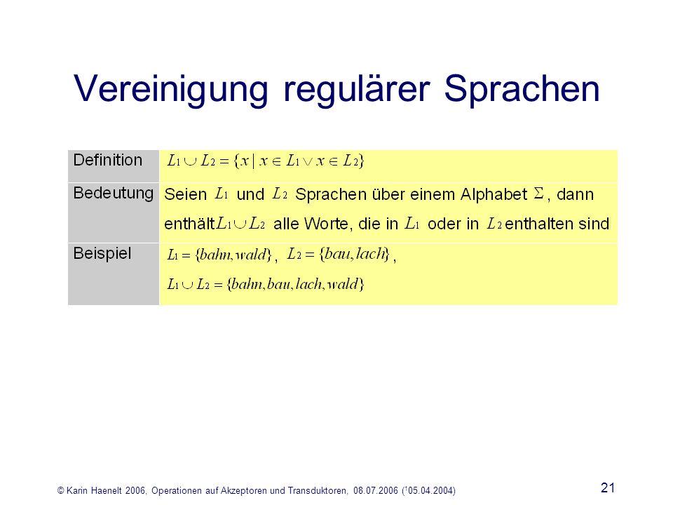 © Karin Haenelt 2006, Operationen auf Akzeptoren und Transduktoren, 08.07.2006 ( 1 05.04.2004) 21 Vereinigung regulärer Sprachen