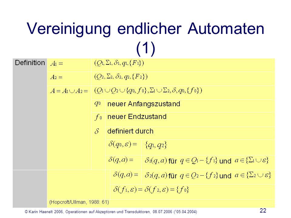 © Karin Haenelt 2006, Operationen auf Akzeptoren und Transduktoren, 08.07.2006 ( 1 05.04.2004) 22 Vereinigung endlicher Automaten (1)