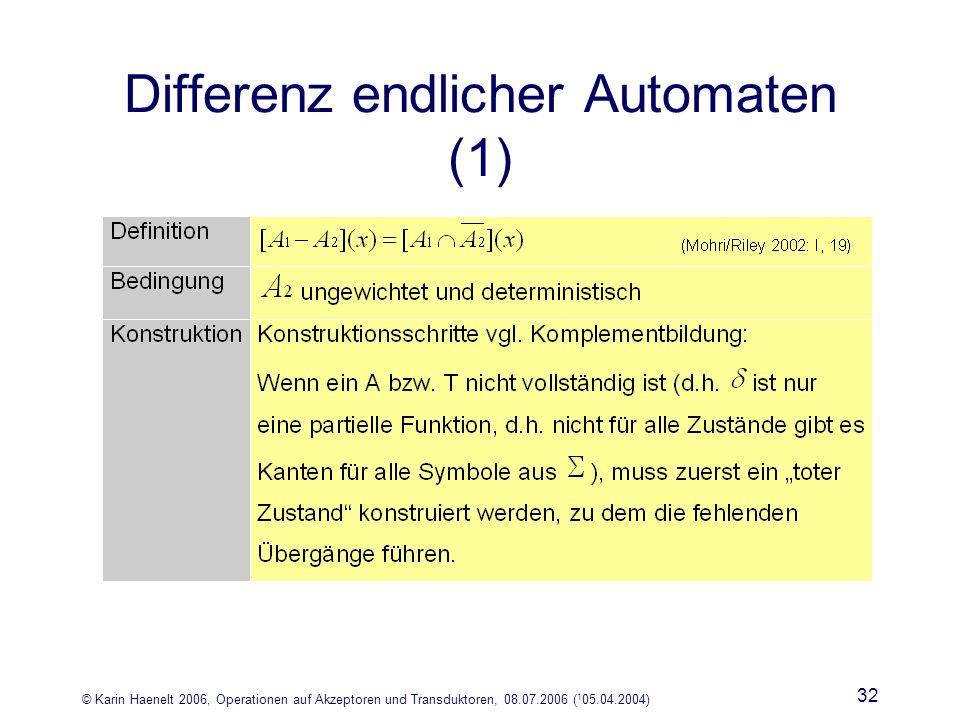 © Karin Haenelt 2006, Operationen auf Akzeptoren und Transduktoren, 08.07.2006 ( 1 05.04.2004) 32 Differenz endlicher Automaten (1)