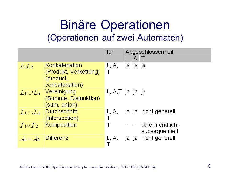 © Karin Haenelt 2006, Operationen auf Akzeptoren und Transduktoren, 08.07.2006 ( 1 05.04.2004) 6 Binäre Operationen (Operationen auf zwei Automaten)