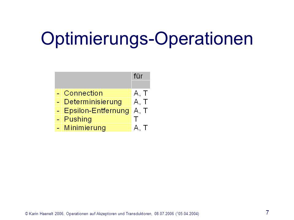 © Karin Haenelt 2006, Operationen auf Akzeptoren und Transduktoren, 08.07.2006 ( 1 05.04.2004) 7 Optimierungs-Operationen