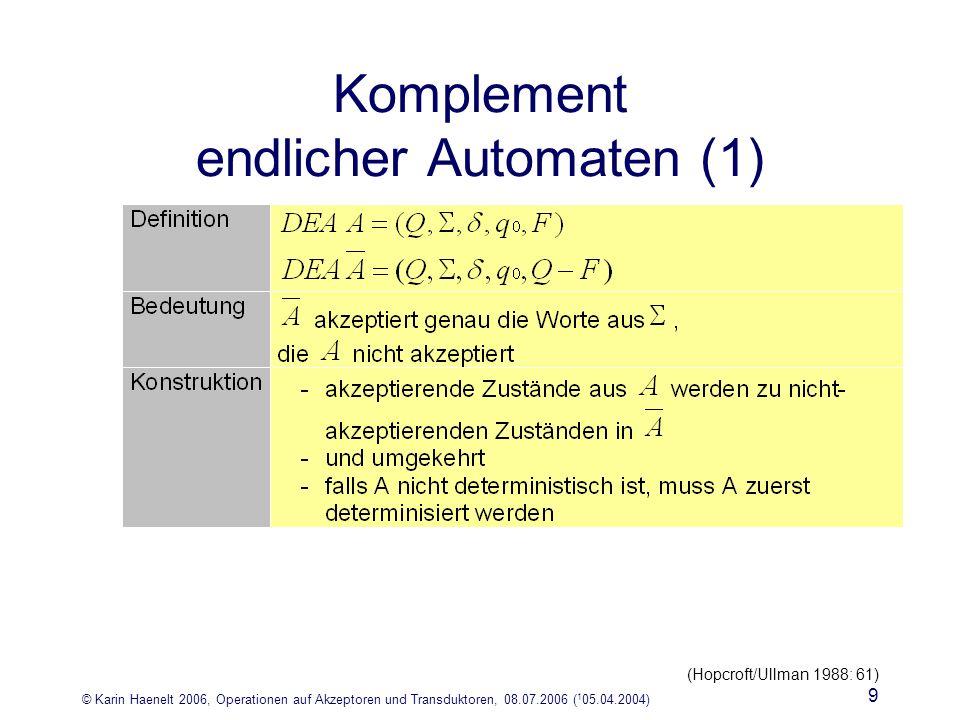 © Karin Haenelt 2006, Operationen auf Akzeptoren und Transduktoren, 08.07.2006 ( 1 05.04.2004) 9 Komplement endlicher Automaten (1) (Hopcroft/Ullman 1988: 61)
