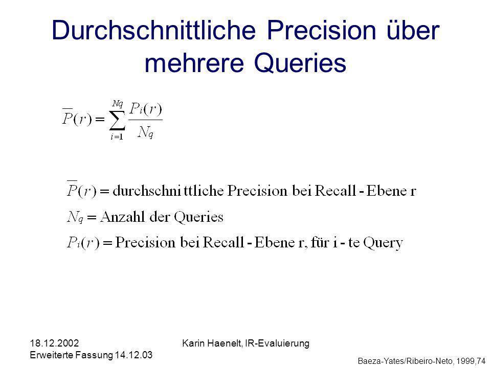 18.12.2002 Erweiterte Fassung 14.12.03 Karin Haenelt, IR-Evaluierung Durchschnittliche Precision über mehrere Queries Baeza-Yates/Ribeiro-Neto, 1999,74