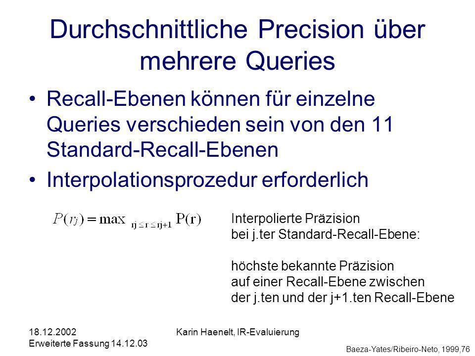 18.12.2002 Erweiterte Fassung 14.12.03 Karin Haenelt, IR-Evaluierung Durchschnittliche Precision über mehrere Queries Baeza-Yates/Ribeiro-Neto, 1999,76 Recall-Ebenen können für einzelne Queries verschieden sein von den 11 Standard-Recall-Ebenen Interpolationsprozedur erforderlich Interpolierte Präzision bei j.ter Standard-Recall-Ebene: höchste bekannte Präzision auf einer Recall-Ebene zwischen der j.ten und der j+1.ten Recall-Ebene