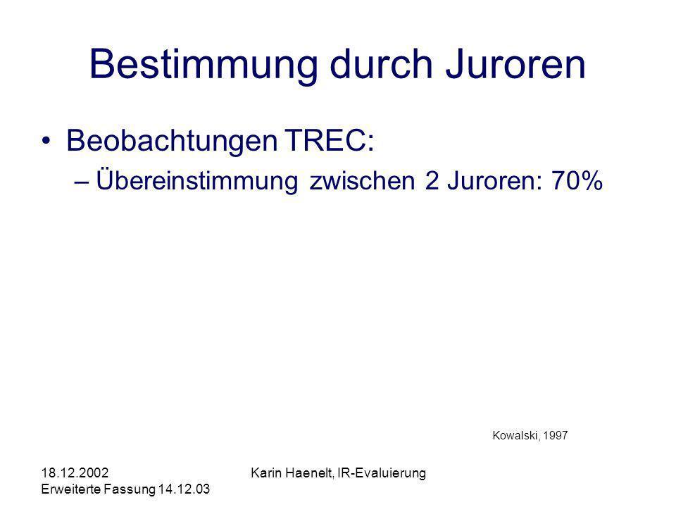 18.12.2002 Erweiterte Fassung 14.12.03 Karin Haenelt, IR-Evaluierung Bestimmung durch Juroren Beobachtungen TREC: –Übereinstimmung zwischen 2 Juroren: 70% Kowalski, 1997