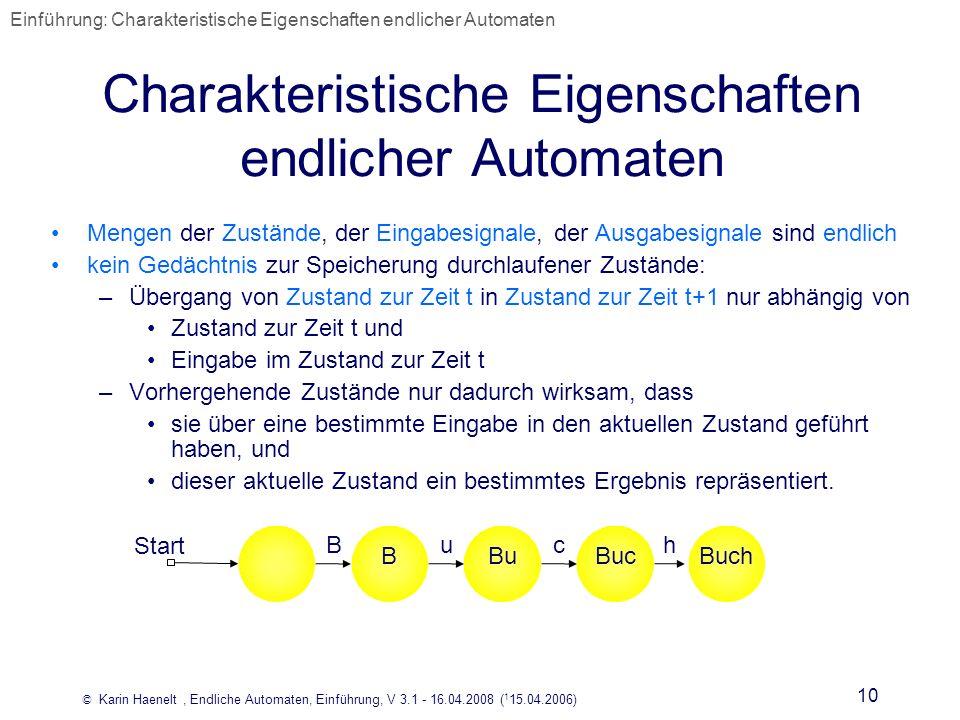 © Karin Haenelt, Endliche Automaten, Einführung, V 3.1 - 16.04.2008 ( 1 15.04.2006) 10 Charakteristische Eigenschaften endlicher Automaten BBuBucBuch