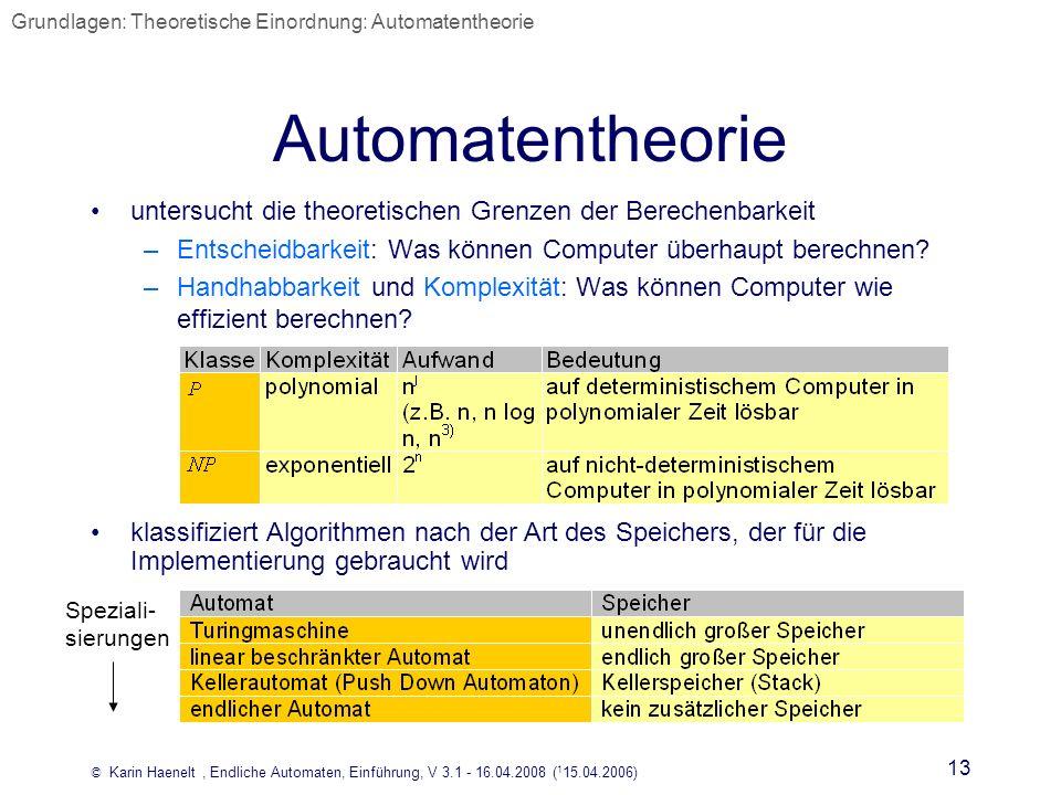 © Karin Haenelt, Endliche Automaten, Einführung, V 3.1 - 16.04.2008 ( 1 15.04.2006) 13 Automatentheorie untersucht die theoretischen Grenzen der Berec