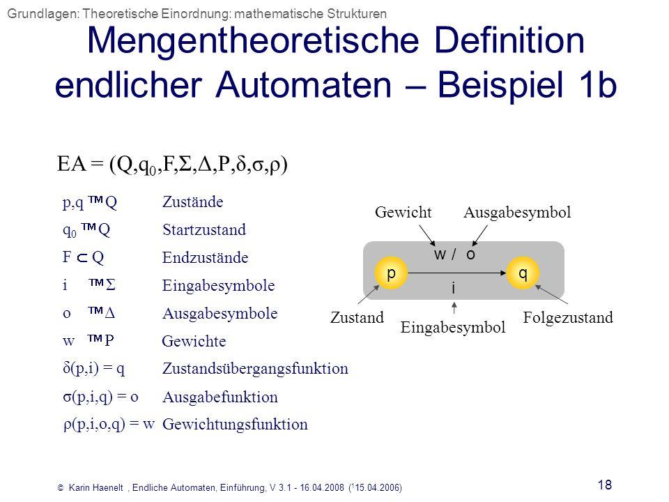 © Karin Haenelt, Endliche Automaten, Einführung, V 3.1 - 16.04.2008 ( 1 15.04.2006) 18 Mengentheoretische Definition endlicher Automaten – Beispiel 1b