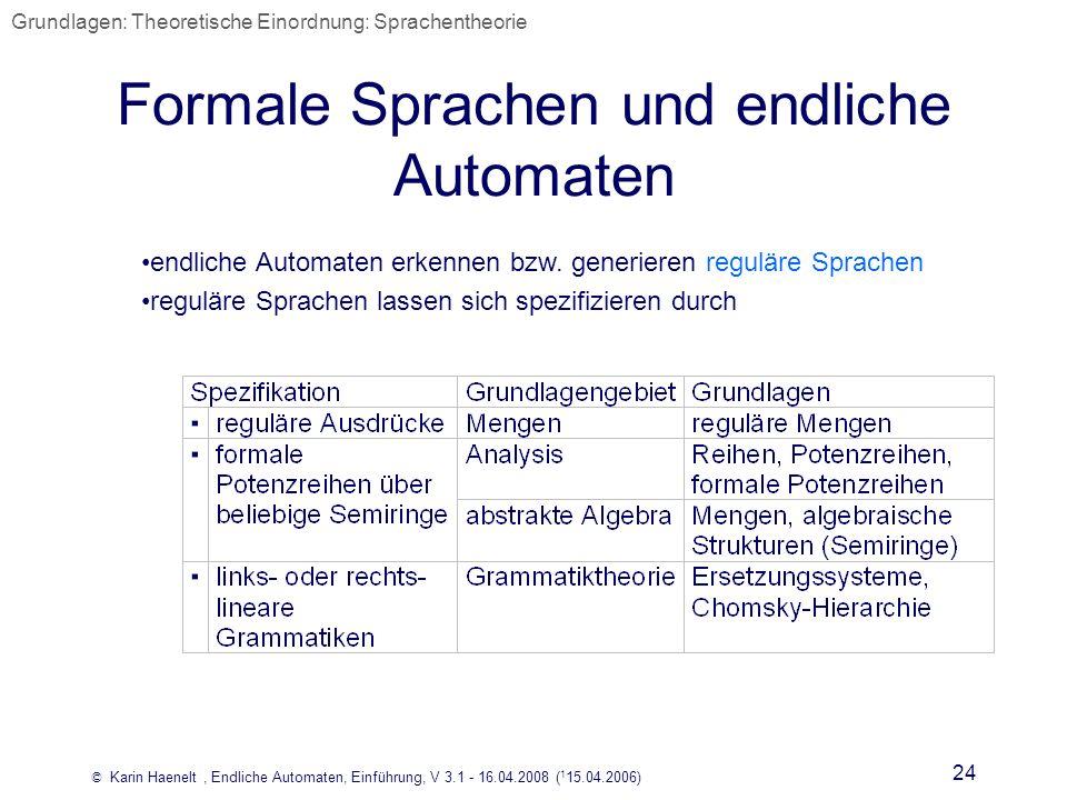 © Karin Haenelt, Endliche Automaten, Einführung, V 3.1 - 16.04.2008 ( 1 15.04.2006) 24 Formale Sprachen und endliche Automaten endliche Automaten erke