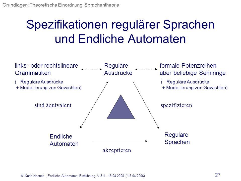 © Karin Haenelt, Endliche Automaten, Einführung, V 3.1 - 16.04.2008 ( 1 15.04.2006) 27 Spezifikationen regulärer Sprachen und Endliche Automaten Endli