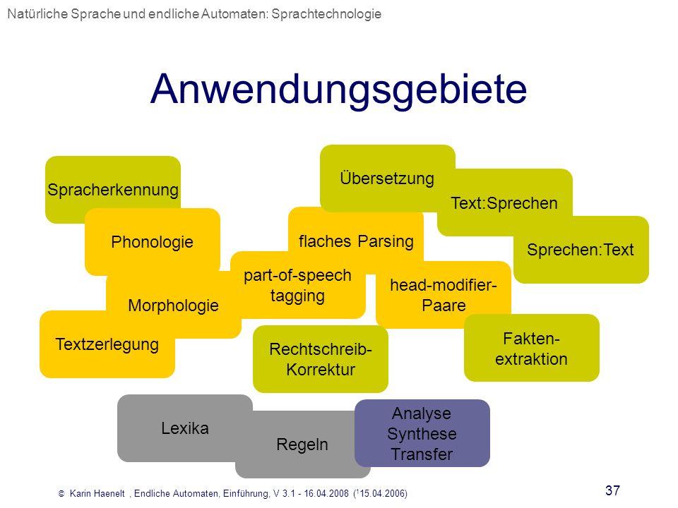© Karin Haenelt, Endliche Automaten, Einführung, V 3.1 - 16.04.2008 ( 1 15.04.2006) 37 Anwendungsgebiete flaches Parsing head-modifier- Paare Textzerl