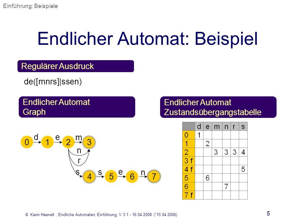 © Karin Haenelt, Endliche Automaten, Einführung, V 3.1 - 16.04.2008 ( 1 15.04.2006) 5 Endlicher Automat: Beispiel Regulärer Ausdruck Endlicher Automat