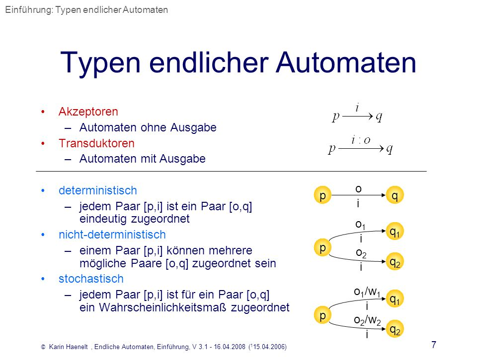 © Karin Haenelt, Endliche Automaten, Einführung, V 3.1 - 16.04.2008 ( 1 15.04.2006) 7 Typen endlicher Automaten Akzeptoren –Automaten ohne Ausgabe Tra
