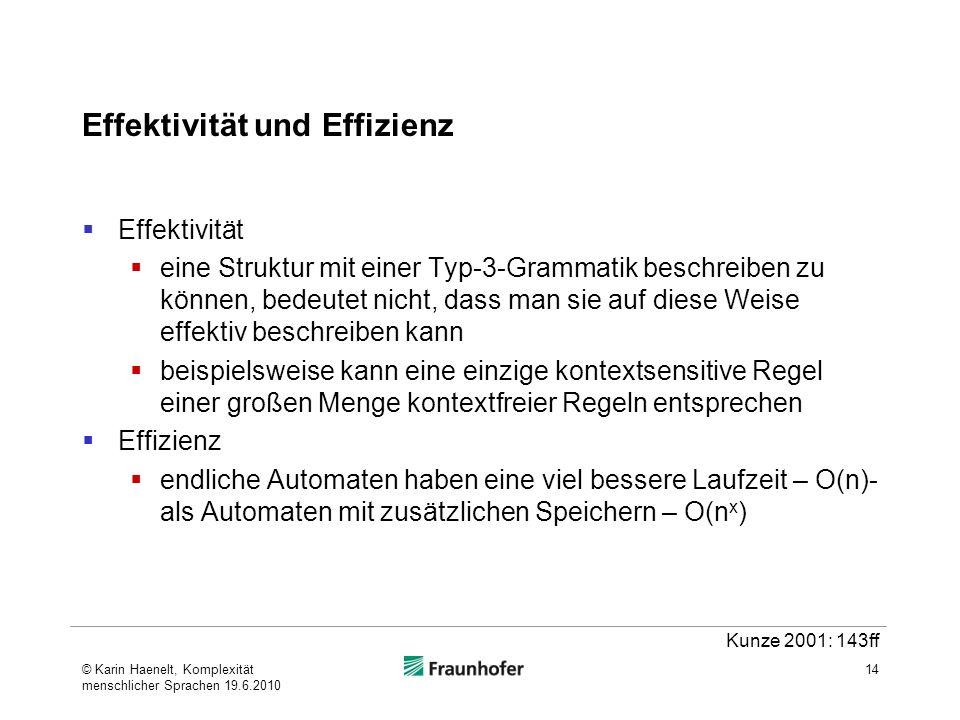 Effektivität und Effizienz Effektivität eine Struktur mit einer Typ-3-Grammatik beschreiben zu können, bedeutet nicht, dass man sie auf diese Weise effektiv beschreiben kann beispielsweise kann eine einzige kontextsensitive Regel einer großen Menge kontextfreier Regeln entsprechen Effizienz endliche Automaten haben eine viel bessere Laufzeit – O(n)- als Automaten mit zusätzlichen Speichern – O(n x ) 14 Kunze 2001: 143ff © Karin Haenelt, Komplexität menschlicher Sprachen 19.6.2010