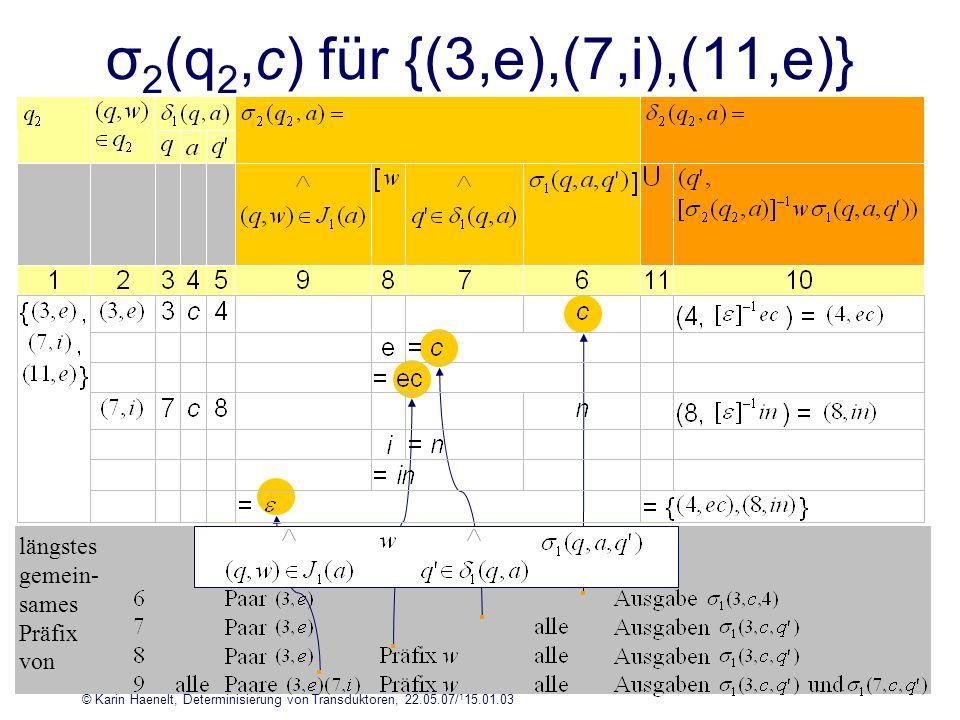 © Karin Haenelt, Determinisierung von Transduktoren, 22.05.07/ 1 15.01.03 18 σ 2 (q 2,c) für {(3,e),(7,i),(11,e)} längstes gemein- sames Präfix von