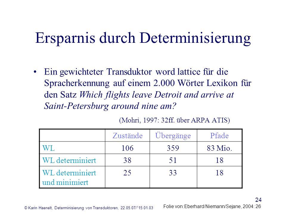 © Karin Haenelt, Determinisierung von Transduktoren, 22.05.07/ 1 15.01.03 24 Ersparnis durch Determinisierung Ein gewichteter Transduktor word lattice