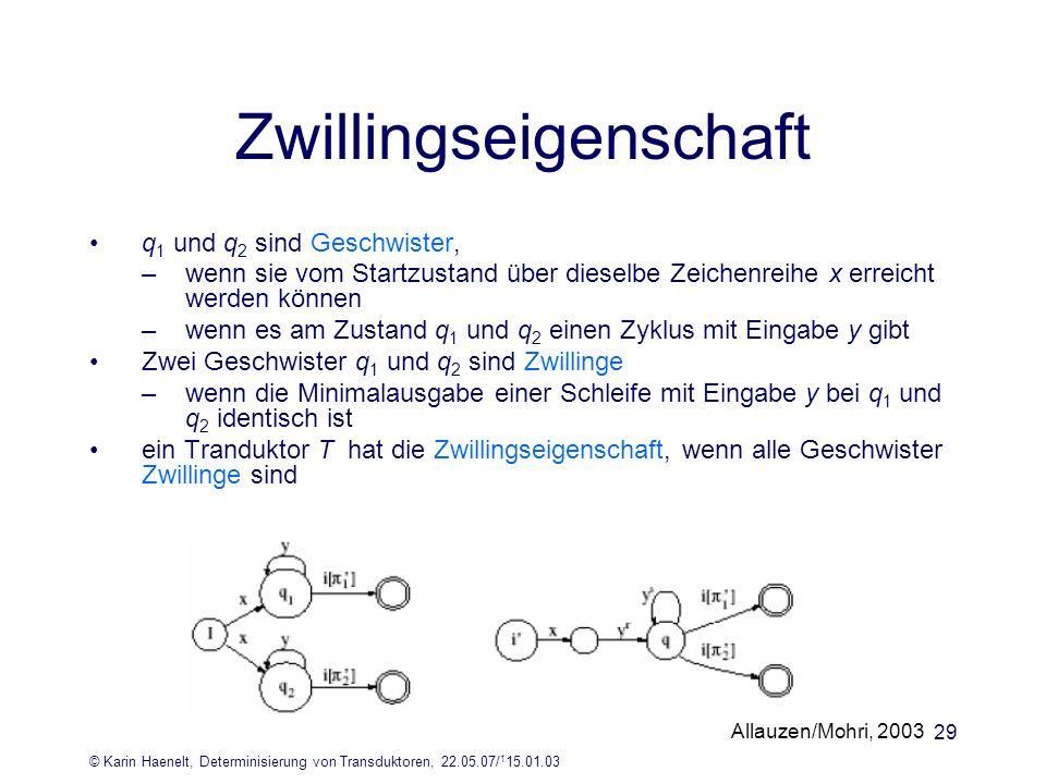 © Karin Haenelt, Determinisierung von Transduktoren, 22.05.07/ 1 15.01.03 29 q 1 und q 2 sind Geschwister, –wenn sie vom Startzustand über dieselbe Ze