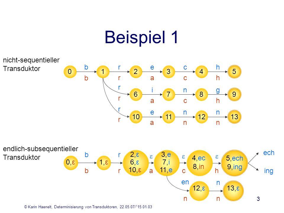 © Karin Haenelt, Determinisierung von Transduktoren, 22.05.07/ 1 15.01.03 3 Beispiel 1 nicht-sequentieller Transduktor endlich-subsequentieller Transd