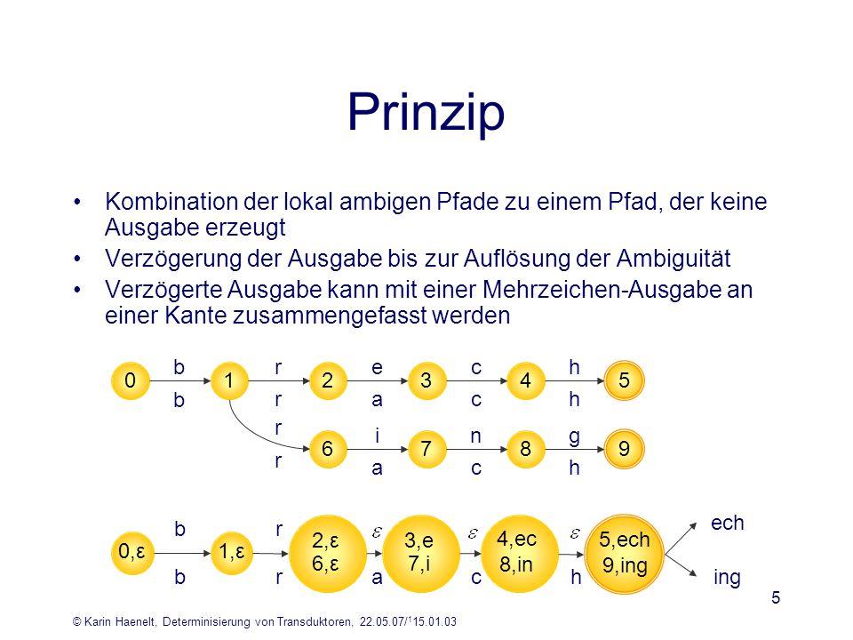 © Karin Haenelt, Determinisierung von Transduktoren, 22.05.07/ 1 15.01.03 5 Prinzip Kombination der lokal ambigen Pfade zu einem Pfad, der keine Ausga