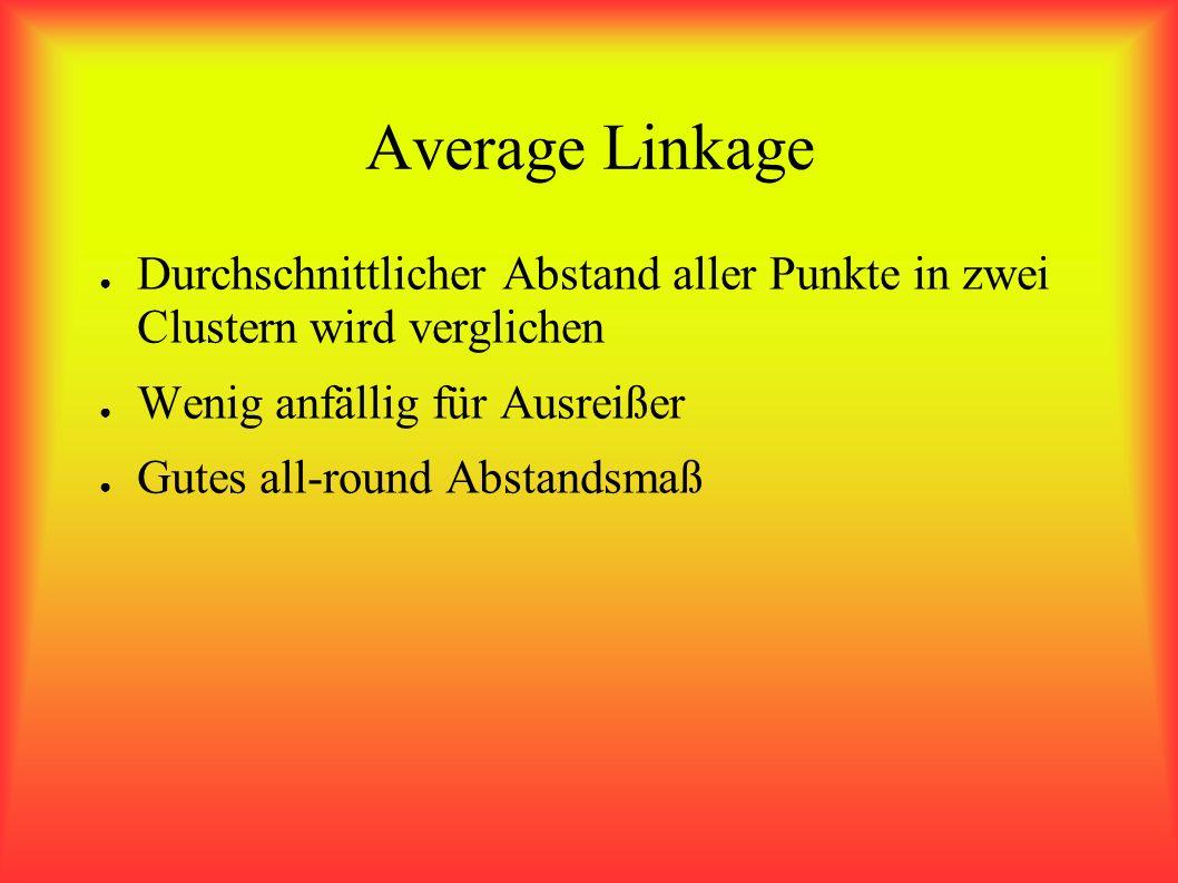 Average Linkage Durchschnittlicher Abstand aller Punkte in zwei Clustern wird verglichen Wenig anfällig für Ausreißer Gutes all-round Abstandsmaß