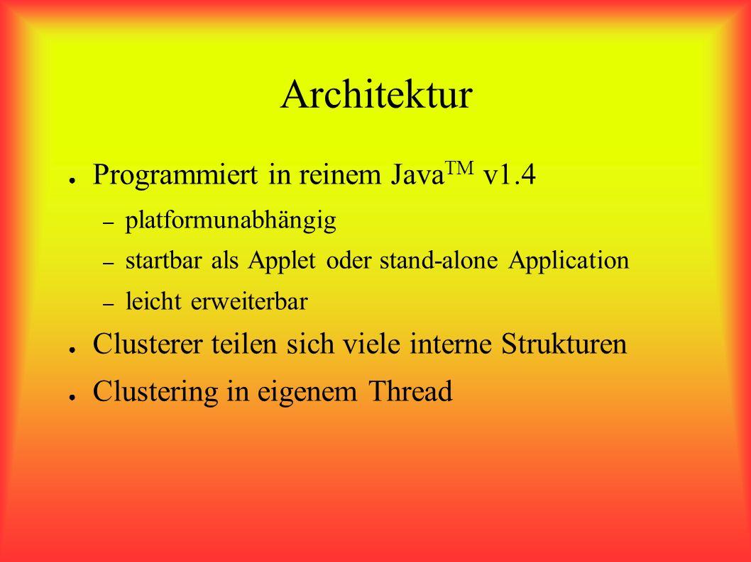 Architektur Programmiert in reinem Java TM v1.4 – platformunabhängig – startbar als Applet oder stand-alone Application – leicht erweiterbar Clusterer teilen sich viele interne Strukturen Clustering in eigenem Thread